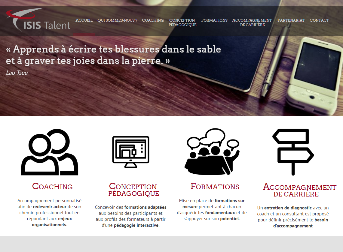 Isis Talent - Site conçu sous WordPress